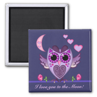 Cute Love Owl , hearts and moon Magnet with text