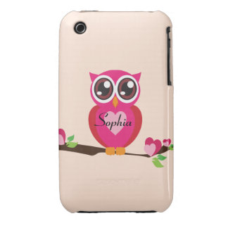 Cute Love Owl with Custom Name iPhone 3 Cover