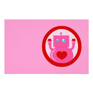 Cute Love Robot Personalized Stationery