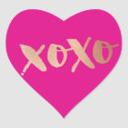 CUTE LOVE XOXO HEART modern rose gold bright pink Heart Sticker