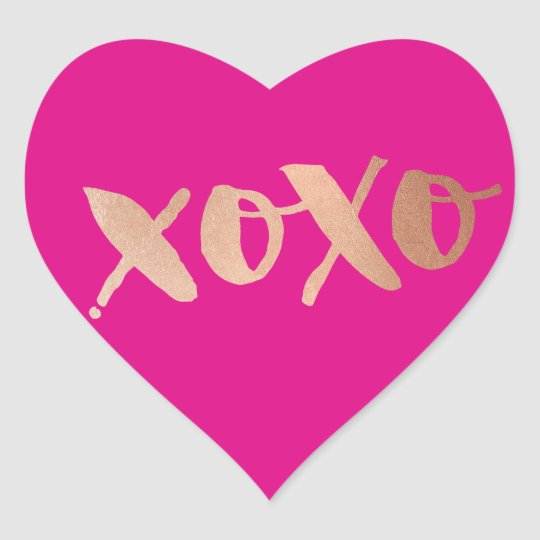 CUTE LOVE XOXO HEART modern rose gold bright