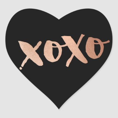 Cute love xoxo heart modern rose gold bright pink heart sticker zazzle co uk