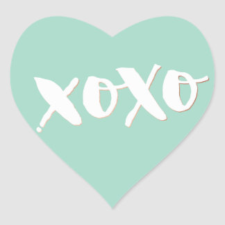 CUTE LOVE XOXO HEART modern trendy white baby mint Heart Sticker