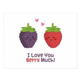 Cute Love You Berry Much Pun Humor Postcard