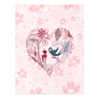 Cute loveable birds with the key to the love postcard