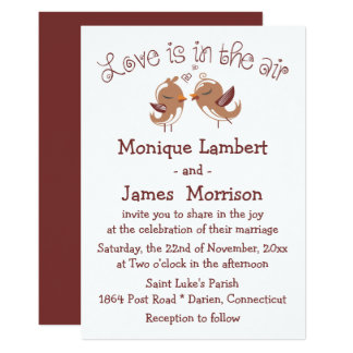 Cute Lovebirds Brown And White Wedding Birds Card