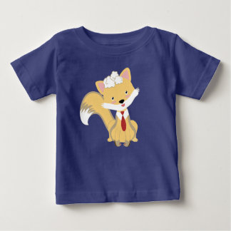 Cute Lovely Baby Fox With Red Tie Illustration Baby T-Shirt