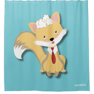 Cute Lovely Baby Fox With Red Tie Illustration Shower Curtain