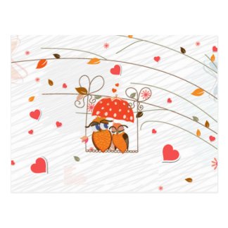 Cute lovely valentines owls in love under umbrella postcard