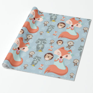 Cute Lovely woodland animals fox raccon kids Wrapping Paper