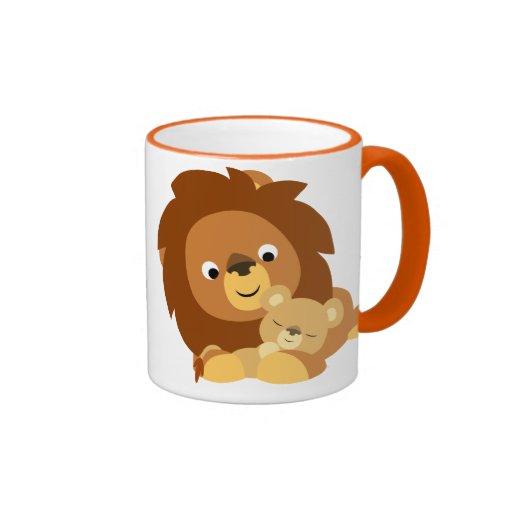 Cute Loving Cartoon Lion Dad and Cub Mug