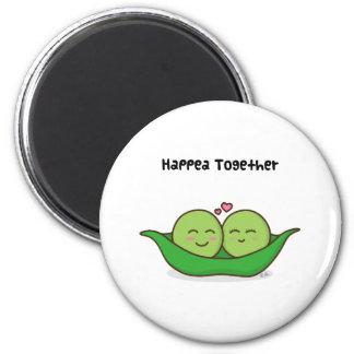 Cute loving pea couple 6 cm round magnet