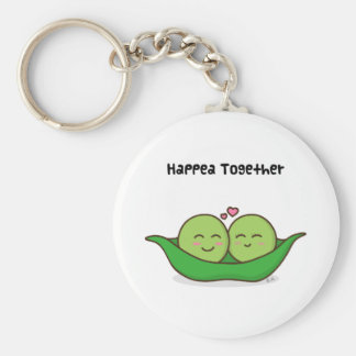 Cute loving pea couple key ring