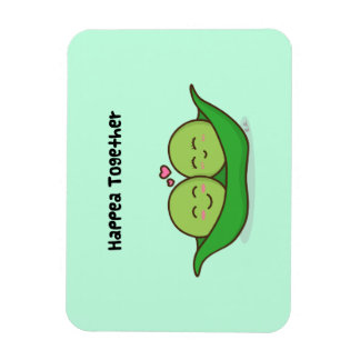 Cute loving pea couple rectangular photo magnet
