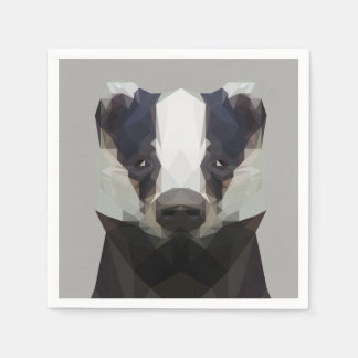 Cute low poly badger napkin paper napkins