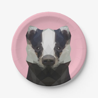 Cute low poly badger paper plate