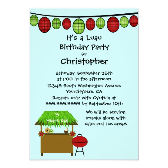 Cute luau boys birthday party invitation