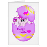 Cute Lucky Pinkie Happy Easter Note Card