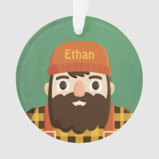 Cute Lumberjack Beard Boy Personalized Ornament