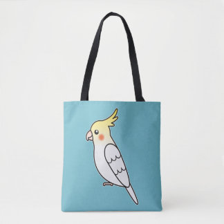 Cute Lutino Cockatiel Cartoon Bird Illustration Tote Bag