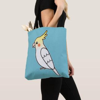 Cute Lutino Cockatiel Cartoon Bird Illustration Tote Bag