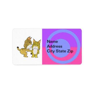 Cute Lynxes in love Address Label