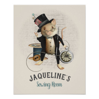 Cute Mad Hatter Victorian Sewing Mouse Poster