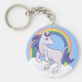 Cute Magical Rainbow Unicorn Basic Round Button Key Ring