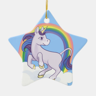 Cute Magical Rainbow Unicorn Christmas Ornament