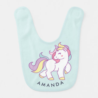 Cute Magical Unicorn Pastel color Personalized Bib