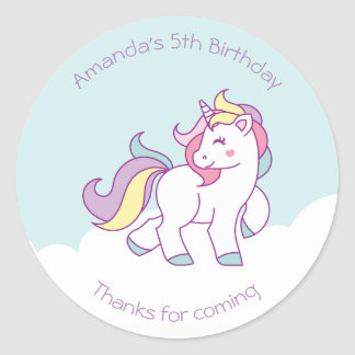 Cute Magical Unicorn Pastel color Personalized Classic Round Sticker