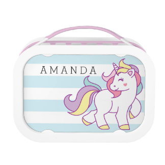 Cute Magical Unicorn Pastel color Personalized Lunch Box