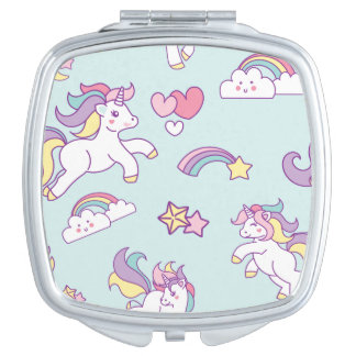 Cute Magical Unicorn Pastel color Personalized Mirrors For Makeup