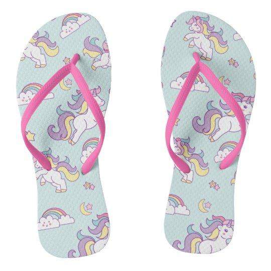 Cute Magical Unicorn Pastel colour Flip Flops