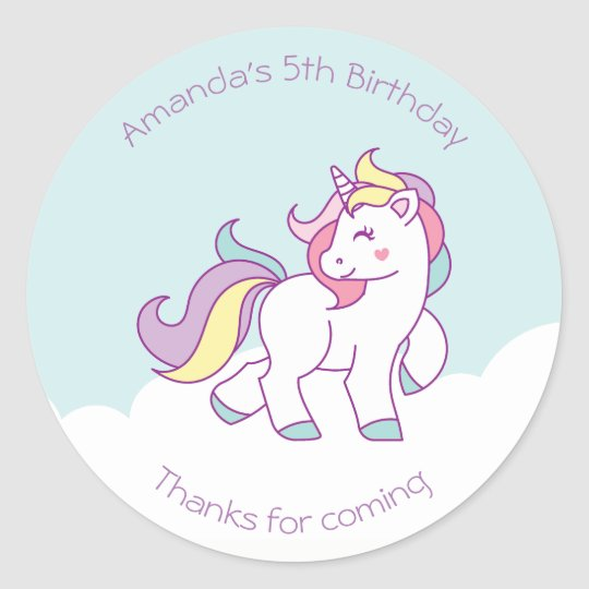 a25190e9eb1 Cute Magical Unicorn Pastel colour Personalised Classic Round Sticker