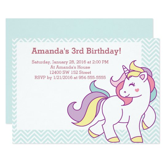 Cute Magical Unicorn Pastel GIRL Animals Birthday Card