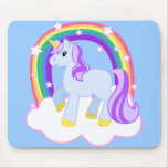 Cute Magical Unicorn with rainbow (Customisable!) Mouse Pad