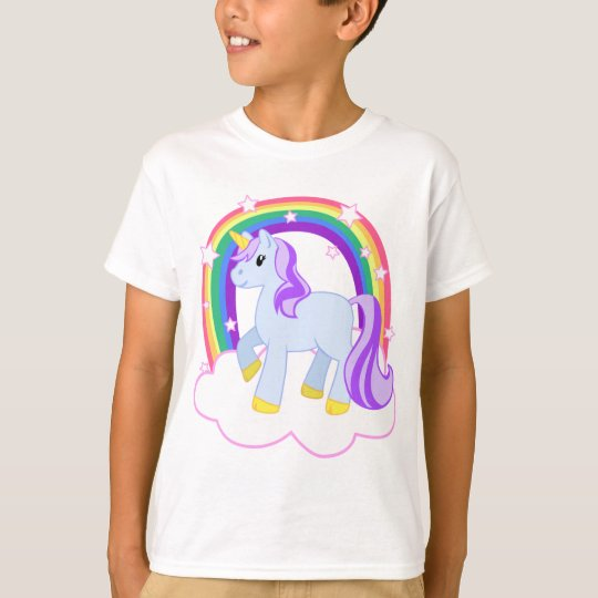 Cute Magical Unicorn with rainbow (Customisable!) T-Shirt