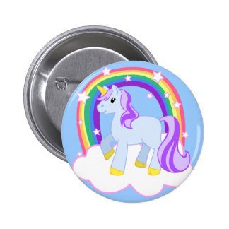 Cute Magical Unicorn with rainbow (Customizable!) 6 Cm Round Badge