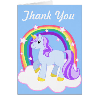 Cute Magical Unicorn with rainbow Customizable Greeting Cards