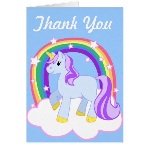Cute Magical Unicorn with rainbow (Customizable!) Greeting Cards