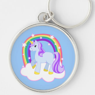 Cute Magical Unicorn with rainbow (Customizable!) Silver-Colored Round Key Ring