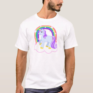 20cf00210 Cute Magical Unicorn with rainbow (Customizable!) T-Shirt