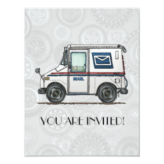 "Cute Mail Truck 4.25"" X 5.5"" Invitation Card"