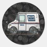 Cute Mail Truck Round Sticker