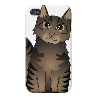Cute Maine Coon Cat Cartoon - Brown Tabby Cover For iPhone 4