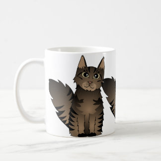 Cute Maine Coon Cat Cartoon - Brown Tabby Basic White Mug