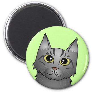 Cute Maine Coon Cat Cartoon - Silver Tabby Fridge Magnets