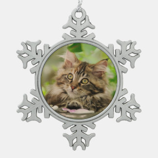 Cute Maine Coon Cat Kitten Photo - Xmas decor Snowflake Pewter Christmas Ornament