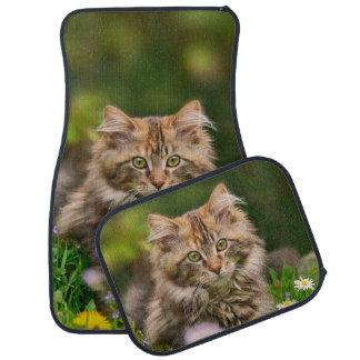Cute Maine Coon Kitten Cat Flower Meadow floorsmat Car Mat